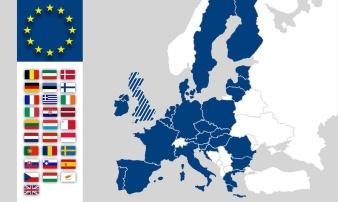 EU Karte Europa Eurasien - EU-Länder / Mitgliedsstaaten - Brexit UK - EU-Flaggen
